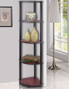 Furinno-5-Tier-Lima-Corner-Display-Rack-Shelf-Dark-Cherry-Black-99811DC-BK-New
