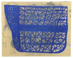 Brian Cypher - Blue Hull -  2014 -  spray paint and oil stick on panel -  16 x 20 inches