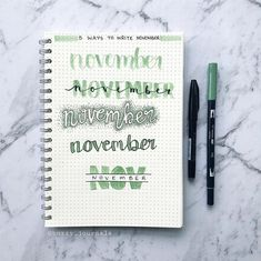 5 ways to write 'november' Bullet Journal Headers, Bullet Journal Notes, Bullet Journal Themes, Bullet Journal Layout, Bullet Journal Inspiration, Book Journal, Tittle Ideas, School Organization Notes, How To Write Calligraphy