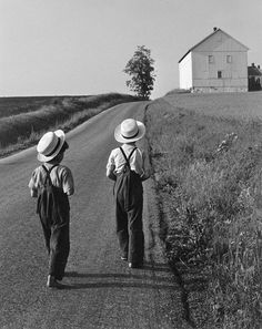 Two Amish Boys, 1962, Lancaster PA. Photograph by America art photographer George Tice.
