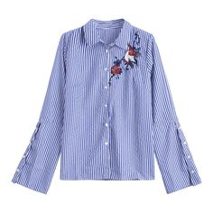 Embroidered Flare Sleeve Stripes Shirt ($21) ❤ liked on Polyvore featuring tops, blouses, embroidered top, bell sleeve blouses, embroidery blouses, bell sleeve shirt and blue striped shirt