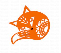 Folk style fox instant digital download papercutting file.