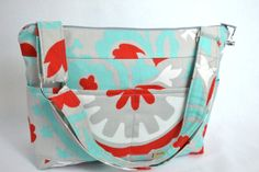 DSLR Camera Bag for women / Turquoise grey and red / fabulous tote bag for dslr gear  / stylish slr purse / by Darby Mack OOAK