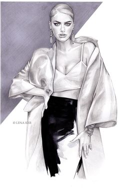 artwork by Lena Ker: fashion illustration Fashion Illustration Sketches, Illustration Mode, Fashion Sketchbook, Fashion Sketches, Mode Collage, Modelos Fashion, Fashion Design Drawings, Fashion Figures, Fashion Art