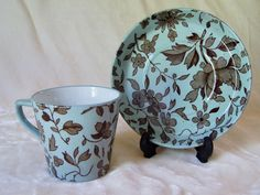 Antique Pottery China Collector Demitasse Tea Cup & Saucer Minton Aesthetic #Minton #AestheticMovement