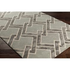 Wrought Studio Vazquez Hand-Tufted Green/Grey Area Rug Rug Size: Rectangle x Beige Area Rugs, Wool Area Rugs, Wool Rugs, Oriental, Hand Tufted Rugs, Green And Grey, Gray, Colorful Rugs, Rug Size