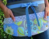teacher apron!!  New Item, Vendor Apron, Modern Floral Periwinkle, Green Tea, Aqua & Slate Gray Dot Six Pocket Utility Apron for Teachers, Crafters, Servers