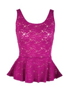 Lace Peplum Zip Tank at eVanity with a 20% discount