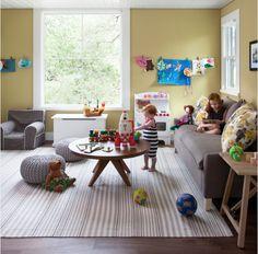 Yellow, chartreuse and gray playroom living room