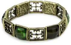 1928 Jewelry Gothic Cross Brass Tone and Olivine Stretch Bracelet 1928 Jewelry. $23.94
