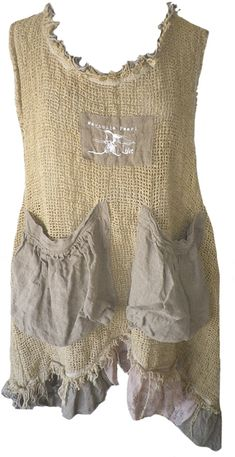 Magnolia Pearl: Honey silk burlap Beulah Apron Dress