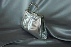 Silver handbag bag from the 60's metallic evening by PurseFancy