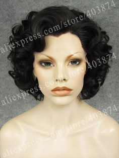 N24 26 Elegant Natural Black Color Synthetic Lace Front Wig Charming Hair Short