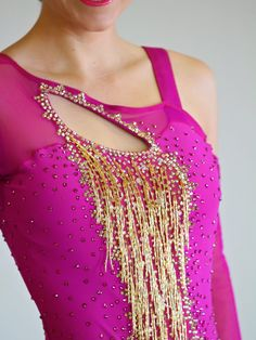 Stunning Latin dress with beaded fringe with insure your the center of attention!! This dress can fit a dancer sizes 2-8 (see size chart below). Make sure to visit the rest of our store and our website: confidancecouture.com or follow us on instagram or facebook for more updates and pictures at confidancecouture.   Additional Policies and FAQs Our made-to-order gowns use the following size chart: Size Bust Waist Hips 0 31-32 23- 24 33-34 2 33-34 25-26 35-36 4 35-36 27-28 37-38 6 37-38 29-30…