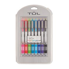 TUL Retractable Gel Pens, Needle Point, 0.5 mm, Gray Barrel, Assorted Bright Ink Colors, Pack Of 8
