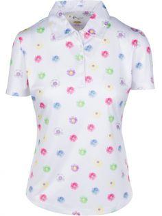 1bae80eb4f069d CLEARANCE Greg Norman Ladies Daisy Field ShortSleeve Golf Polo Shirts -  ESSENTIALS(White) Spring2018