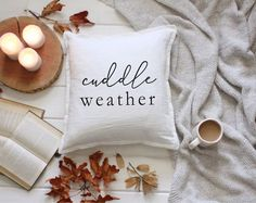 Cuddle Weather Throw Pillow - Farmhouse Pillow Cover - Home Decor - Modern Textile - Fixer Upper