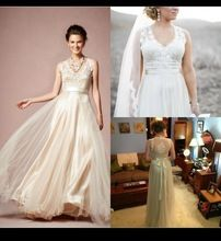 2014 Gorgeous Onyx Wedding Dresses BHLDN V Neck A Line Wedding Dresses Lace Tulle Illusion Neckline Beach Sheer Wedding Gowns(China (Mainland))