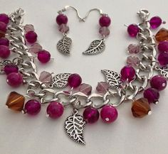 Autumn Leaf Charm Bracelet Set by LifeCouldBeSweet on Etsy