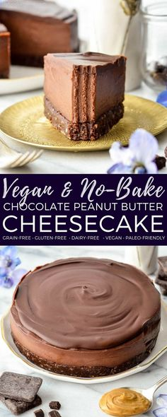 This No-Bake Vegan Chocolate Peanut Butter Cheesecake recipe is a healthy yet decadent dessert! Gluten-free, dairy-free, vegan, and paleo-friendly! #vegan #dairyfree #glutenfree #grainfree #dessert #cheesecake #vegancheesecake #chocolate #peanutbutter #healthyrecipe #healthydessert via @joyfoodsunshine
