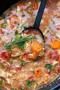 Crockpot Italian Chicken Quinoa And Vegetable Soup Crockpot Chicken Soup Chicken Vegetable Soup Crockpot, Chicken Quinoa Soup, Slow Cooker Thai Chicken, Crock Pot Soup, Slow Cooker Soup, Chicken And Vegetables, Chicken Tortellini, Veggies, Crockpot Recipes