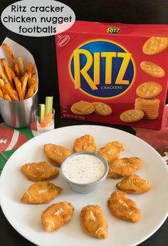 Big game Ritz cracker chicken nugget footballs