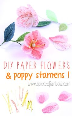 A Piece of Rainbow shows how to make these pretty crepe paper flowers.