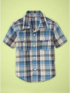 Multi-plaid short-sleeve shirt