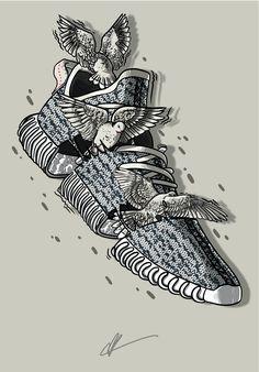 """Sneaker Art - Kanye - Yeezy 350 """"Turtledove"""""""