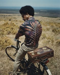 palm frond, afro, bicycle, beach, luggage, 1970s, summer, transportation, journey, adventure