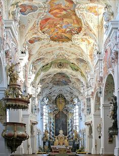 Baroque architecture inside Reichenbach Abbey in Bavaria, Germany (by rotraud).