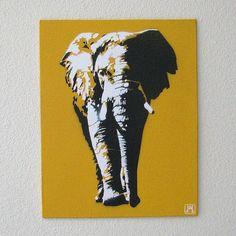 Multilayer Stencil Templates   Elephant Yellow Multilayer Graffiti Stencil on Canvas Board 8x10   My ...