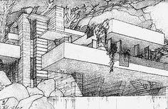 Frank Lloyd Wright sketch of Fallingwater