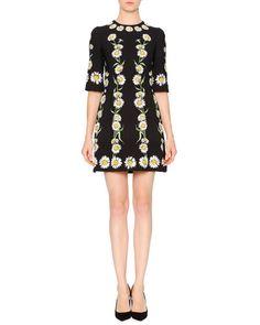 B31SM Dolce & Gabbana Elbow-Sleeve Cady Daisy Dress, Black/White/Green