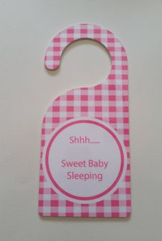 Baby Door Hanger Pink Gingham by SDdoodles on Etsy