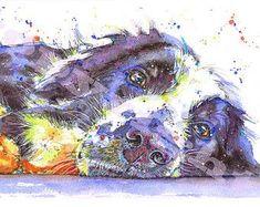 Fabulous Print of Original Watercolour Border Collie Sheep Dog Puppy Painting Art by Josie P