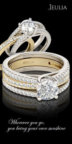 Jeulia Interchangeable Two Tone Round Cut Created White Sapphire Wedding Set #Jeulia