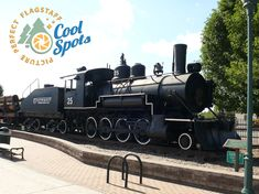 A brief walk east of the Flagstaff Visitor Center leads to Two Spot, an authentic Baldwin locomotive. Two Spot is retired and displayed on a track ideal for photo opportunities. Train Engines, Great View, Locomotive, Arizona, Cool Stuff, Places, Track, Pictures, Flagstaff Arizona