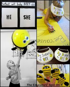 The Educators' Spin On It: Gender Reveal Party - What's It Going To Bee Themed, a party for siblings to connect with baby to be.  Tons of budget friendly - kid made ideas!!!