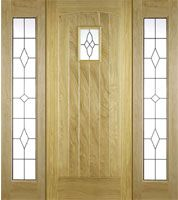Pre-Hung Cottage Oak Door-Set  with Universal Oak Sidelights