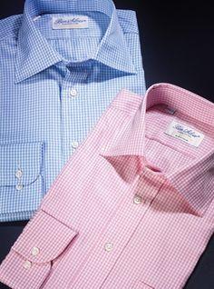 c52b331b Small Grid Check Spread Collars in Blue & White and Pink & White Corbatas,  Moda