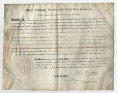 John Adams Grants Two Tracts of Ohio Land to a Revolutionary War Veteran $7,500