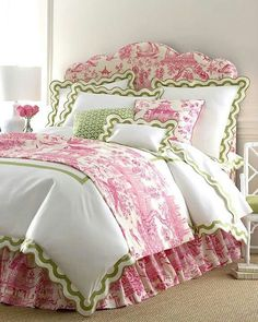 Pink and green  Oh so feminine Pink and White Toile de Jouy Bedroom