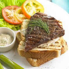 Grilled Texas Steak Sandwiches with Dilled Horseradish Sauce From Better Homes and Gardens, ideas and improvement projects for your home and garden plus recipes and entertaining ideas.