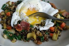 poached egg over a lentil salad with bacon. I think we may have this for breakfast tomorrow.