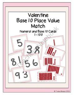 Valentine Base 10 Place Value Match product from TrishaB on TeachersNotebook.com