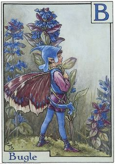 Illustration for the Bugle Fairy from Flower Fairies of the Alphabet. A boy fairy stands facing right holding a spray of bugle.    Author / Illustrator  Cicely Mary Barker