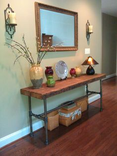 Console table made out of reclaimed lumber and black plumbing pipe. - reducer as the feet Furniture Projects, Wood Furniture, Vintage Furniture, Home Projects, Rustic Industrial Furniture, Plumbing Pipe Furniture, Industrial Pipe, Console Table, Sofa Tables