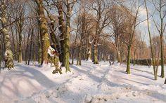 peder mork monsted | Snowy Forest Road In Sunlight by Peder Mork Monsted