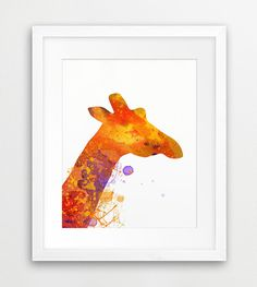Giraffe Watercolor Printable File, Safari Animals Silhouette Colorful Orange Yellow - Modern Wall Art Nursery Home Decor Digital Print